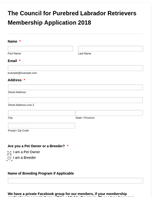 The CPLR Website Membership Application 2018