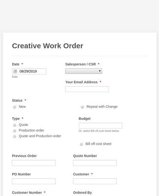 F.P. Horak Creative Work Order