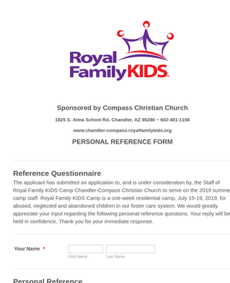Royal Family KIDS' Camp Compass Reference Form