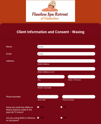 Wax Client Intake Form