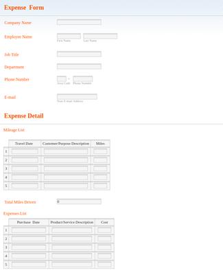 Expense Reimbursement Form with Calculations