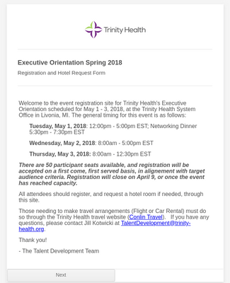 Trinity Health Executive Orientation Spring 2018 - Registration & Hotel Request Form