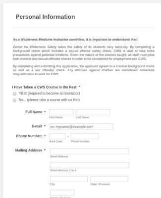 Medical Staff Application Form