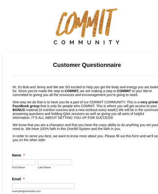 COMMIT Customer Questionnaire