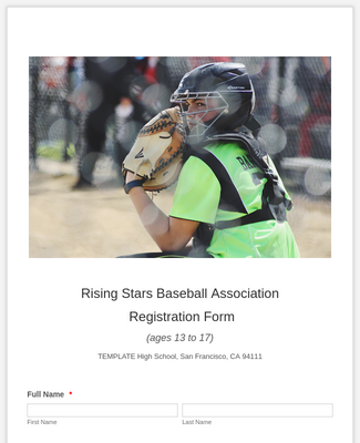 Baseball Registration Form