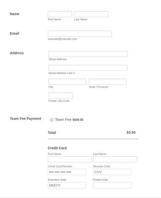 Adult Co-Ed Softball League Registration Form