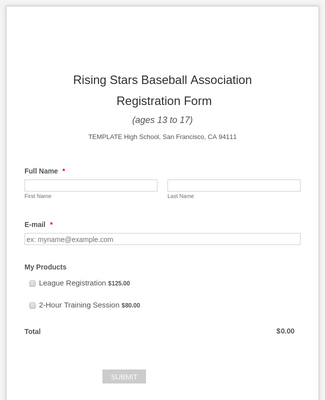 PayU Baseball Registration Form