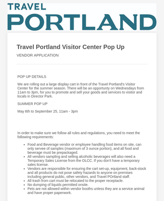 Visitor Center Vendor Application Form