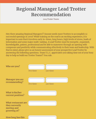Regional Manager Lead Trotter Recommendation