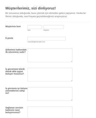 Müşteri Anket Formu