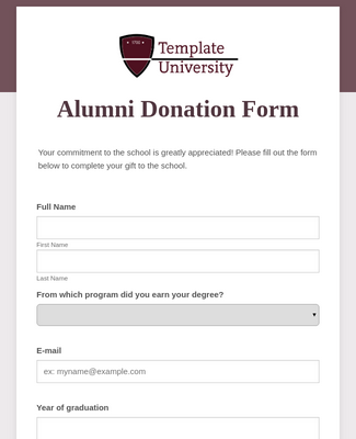 Alumni Donation Form Template Jotform