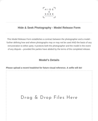 Hide & Seek Photography - Model Release Form