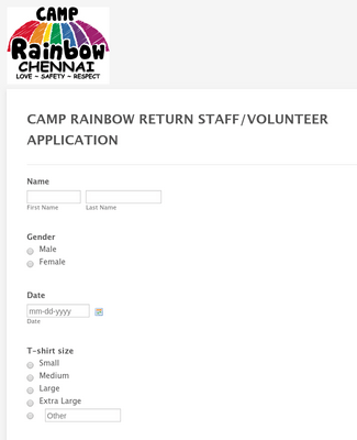 CAMP RAINBOW RETURN STAFF/VOLUNTEER APPLICATION