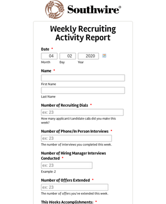 Recruiting Activity Report Form