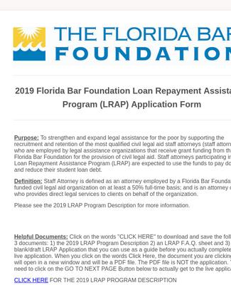 2019 Florida Bar Foundation Loan Repayment Assistance Program Application