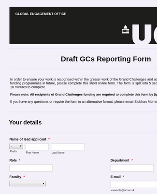Draft GCs Reporting Form