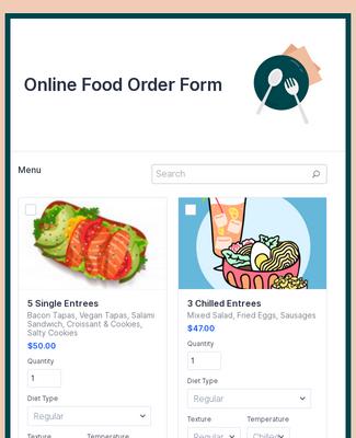 Stripe Online Food Order Form