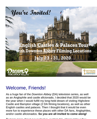 Wolfskill English Castles Tour Custom Webpage