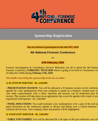 4th NFC-2020   Sponsors Registration