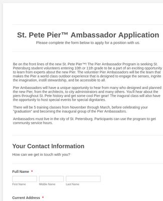 St. Pete Pier Ambassador Application
