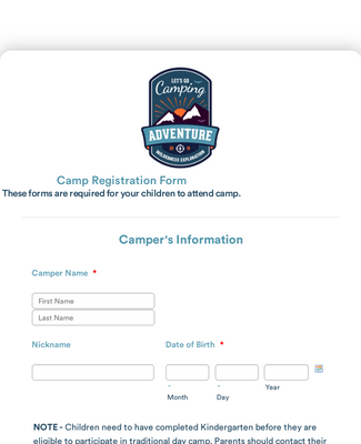 summer camp registration pdf template