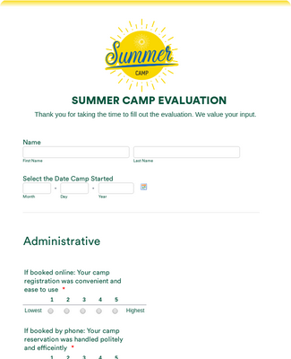 Camp Evaluation Form