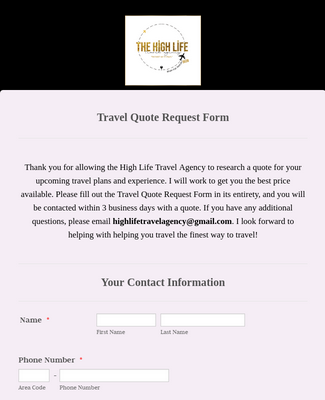 Travel Quote Request Form