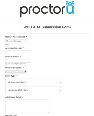 SandBox WGU ADA Submission Form