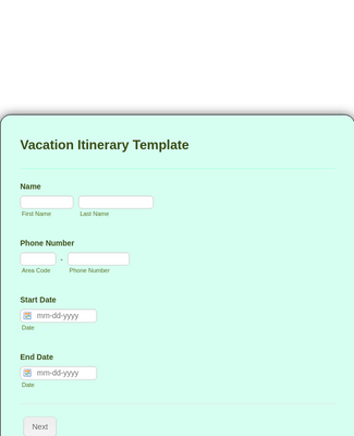 Vacation Itinerary Form