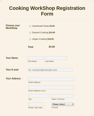 Cooking WorkShop Registration Form PayPal Standard