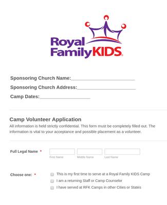 RFK New Camp / Staff Volunteer Application 2019