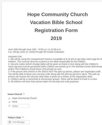 Hope Community Church Vacation Bible School Registration Form 2019