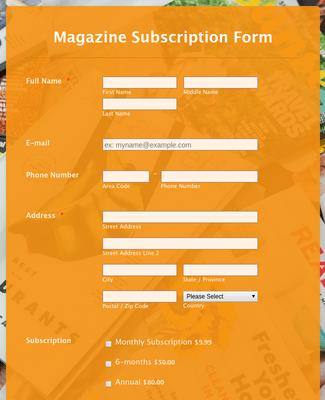 Magazine Subscription Form