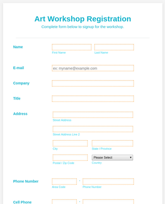 Art Workshop Registration Form - WorldPay UK Payment Form