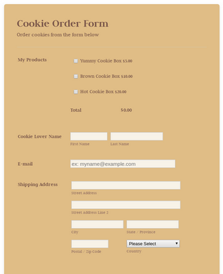 Online Cookie Order Form - WorldPayUS Payment Form