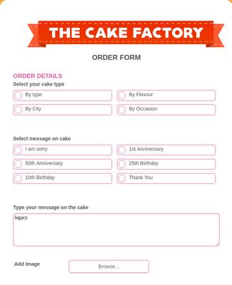 Cake Factory Order Form