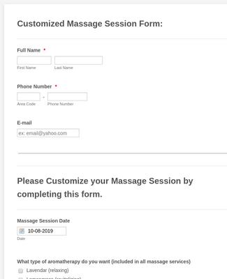 Customization of Massage Session Form