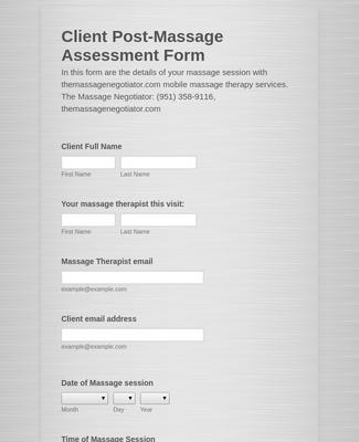 Client Post-Massage Assessment Form