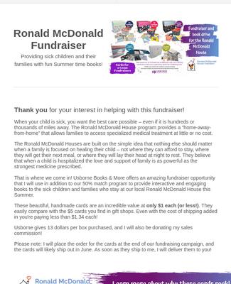 Ronald McDonald House CFAC/Book Drive!