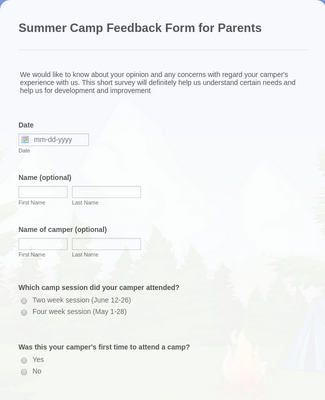Summer Camp Feedback Form for Parents