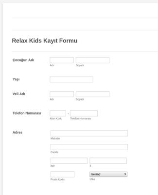Relax Kids Kayıt Formu