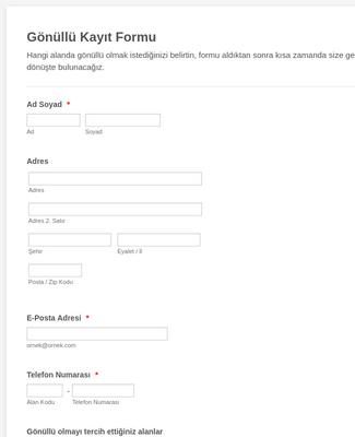 Gönüllü Başvuru Kayıt Formu