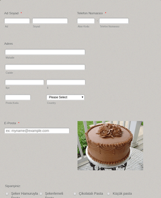 Pasta Sipariş Formu