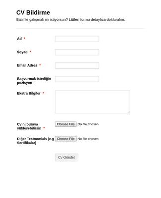 CV Başvuru Formu