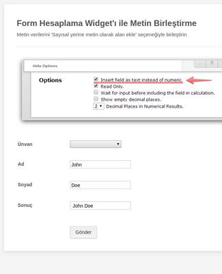 Form Hesaplama Widget'ı Ile Metin Birleştirme Formu