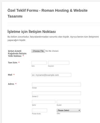 İnternet Sitesi Tasarım Formu