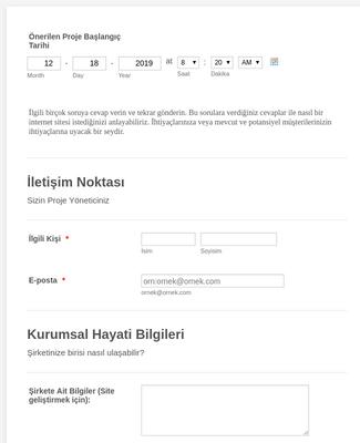 Web Site Tasarım İstek Formu