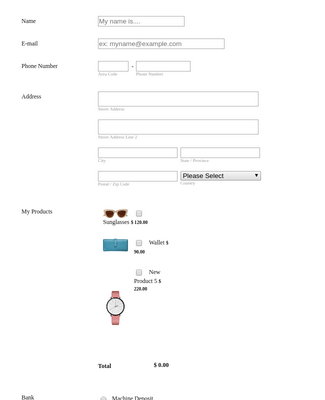 Women's Fashion Order Form - Paypal Invoicing