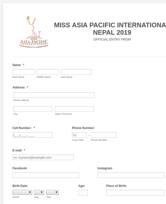 Miss Asia Pacific International Nepal 2019 Form