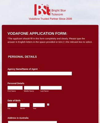 Vodafone Application Form - Bright Star Telecom